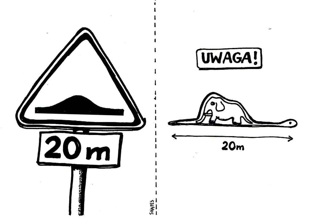 warning sign boa digesting an elephant