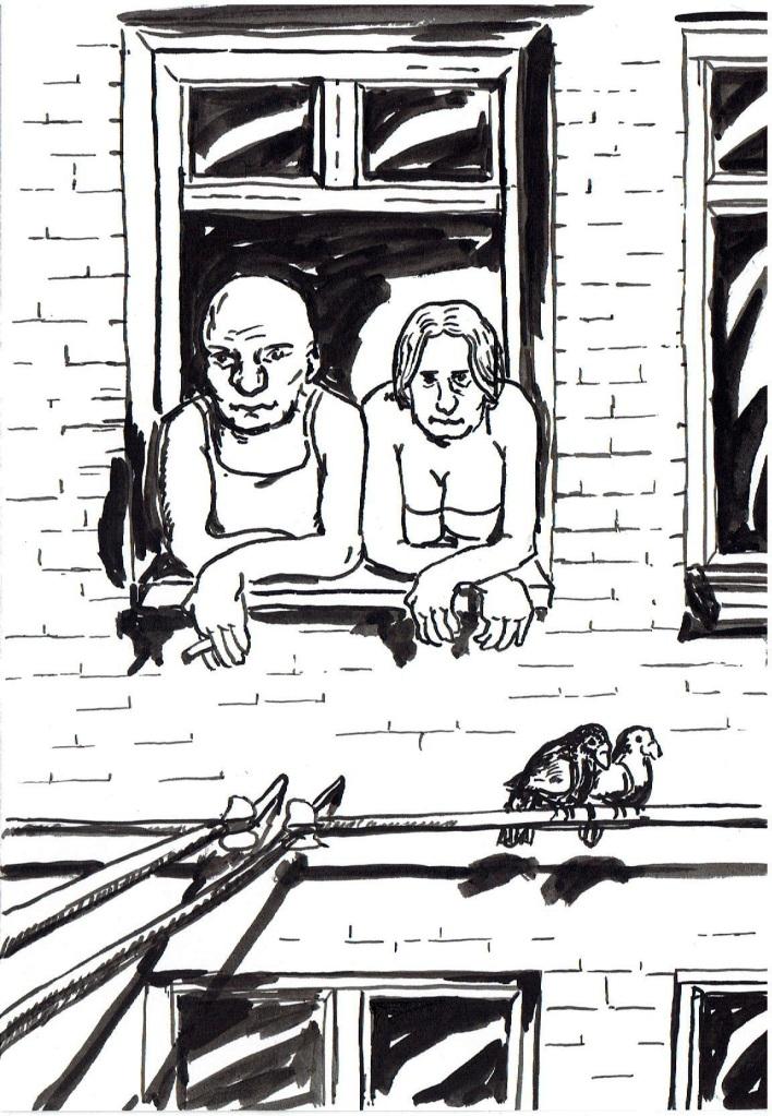 Na obrazku znajdują się dwie postacie ściśnięte w oknie kamienicy. Wyglądają na ulicę. Palą papierosy. To mężczyzna i kobieta, prawdopodobnie małżeństwo, już starsze raczej. Na przewodzie elektrycznym poniżej, siedzą dwa gołębie blisko siebie.